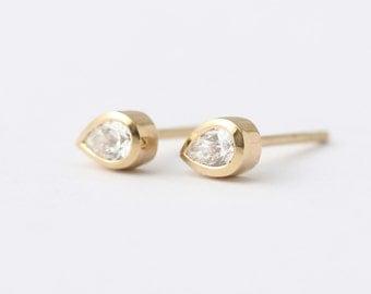 Diamond Tear Drop Earrings - Pear Diamond Earrings - Gold Stud Earrings - 14k Solid Gold