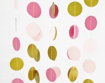 10ft Gold Shimmer, Blush Pink and Rose Pink Garland - Gold Bridal Shower, Gold Wedding Decor, Baby Shower, Nursery Decor
