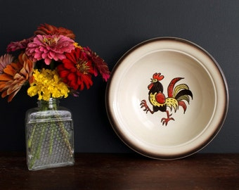 Vintage Metlox Poppytrail Pottery Red Rooster Round Serving Bowl Hand Painted China