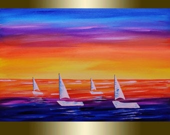 Oil Painting on Canvas palette knife boats at sea