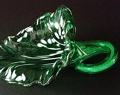 Hand Blown Glass Flower Cornucopia in Green with White, Home Decor, Gift, OOAK, Sale, Functional Glass, Sculptural Glass, Centerpiece