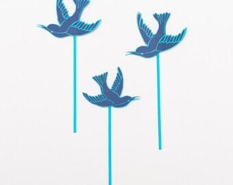Hummingbird Topper - Blue Lovebirds - Unique Cake Topper - Wedding Cake Topper - Baby Shower Decor - Cake Topper for Girl - Cake Topper UK