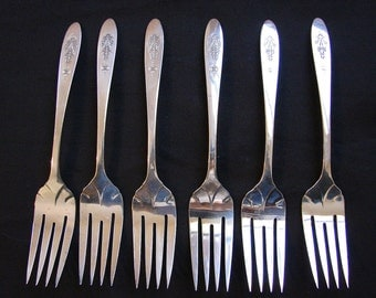 Oneida Community Silverplate BIRD OF PARADISE 6 Salad, Dessert Forks set