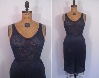 hand dyed vintage warners slip dress - smoke • upcycled slip dress • revamped vintage slip