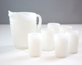 Anchor Hocking 7 Piece Hobnail Water Set, Milk Glass Pitcher & Tumblers