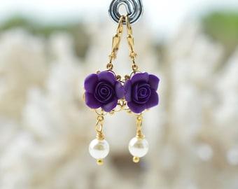 Tamara Statement Earrings in Deep Purple Rose. Deep Purple Rose and Pearls Earrings. Flower Statement Earrings