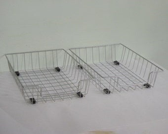 2 Vintage Wire File Baskets In-Out Baskets Mail Holder