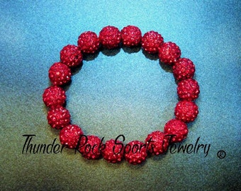 Red Shamballa Beads Bracelet Stretch Pave Sparkly Beaded Disco Ball Bling Crystals