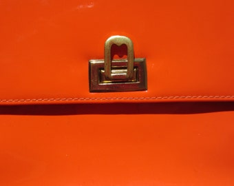 1960s orange patent leather hand bag