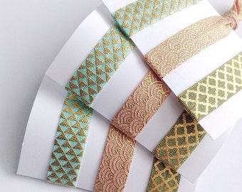 Gold Patterned Hair Ties, Pastel No Crease Ponytail Holders, Hair Tie Set