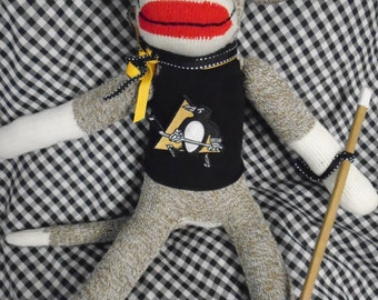 Pittsburg Penguins Stanley Cup Winner Hockey Sock Monkey Doll With Stick And Puck