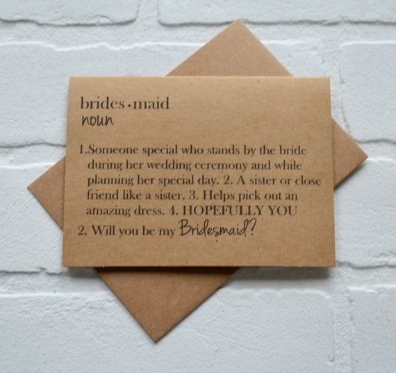 DEFINITION Cards Will You Be My BRIDESMAID Cards Dictionary