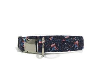Patriotic Dog Collar Glitter Flags Adjustable Collar