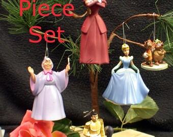 6 PI Set OR Cinderella, Prince Charming, Fairy God Mother. Step Mom, Mice & Cat Christmas Tree Ornament Set funny lot Disney