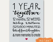 1 Year Anniversary Sign Annviersary Cute Gift for Boyfriend Card Poster PRINTABLE Digital File Instant Download Gift for Girlfriend Art