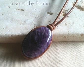 Amethyst and Leather Boho Necklace, Gemstone Necklace, Boho Necklace, Gifts for her, Gifts under 45, Amethyst Necklace, Amethyst Jewelry