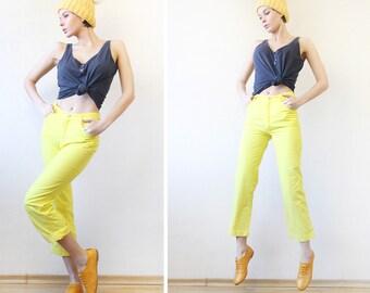 BENETTON vintage sun yellow cotton denim skinny straight leg high waist capri pants trousers jeans XS