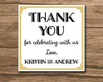 Art Deco Wedding Favor Tag, Wedding Thank You Tag, Hang Tag, Favor Tag - PRINTABLE file - artdeco wedding, caligraphy, any size - Kristin