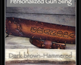 Great Gift for that hunter a Genuine Cowhide Leather Gun Sling with a hammered finish and jumping deer *Personalized Free*