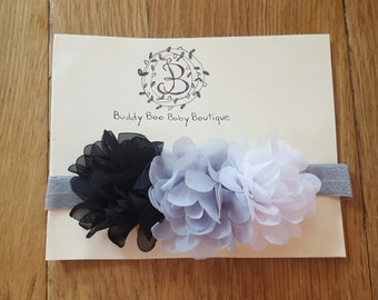 Black, White, and Grey Flower Baby Headband