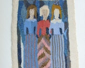 Vintage Swedish hand woven Flemish wave Three women