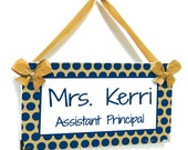 personalized school assistant principal office door sign polka dots in blue and goldisg accents - P2440