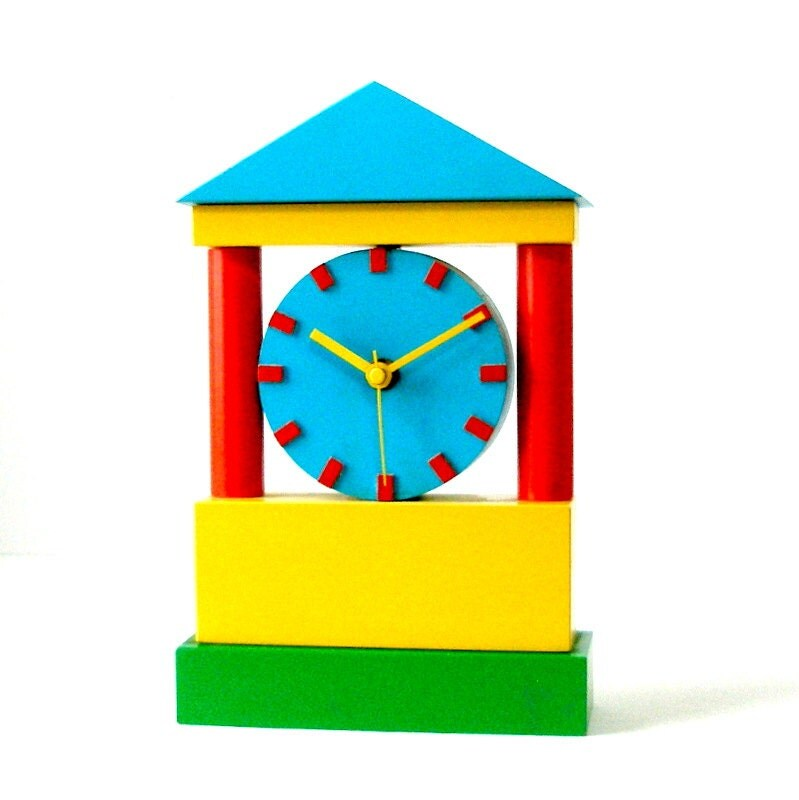 1984 Artist Made Memphis Style CLOCK Sculpture Bright Color