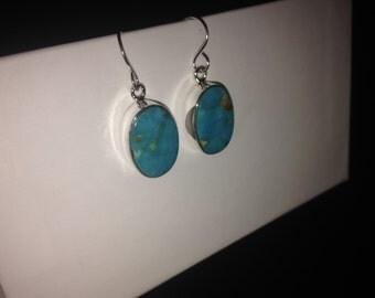 Native American Navajo Kingman Turquoise & Sterling Silver Dangle Earrings