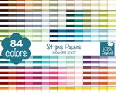 70% Sale Stripes Digital Papers - Rainbow Stripes Papers - Scrapbook Papers - Huge Paper Pack- INSTANT DOWNLOAD