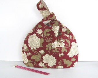 Large Knitting Bag, Vintage Floral Tote Bag, Knot Style Sweater Knitting Bag - Winter Roses on Claret