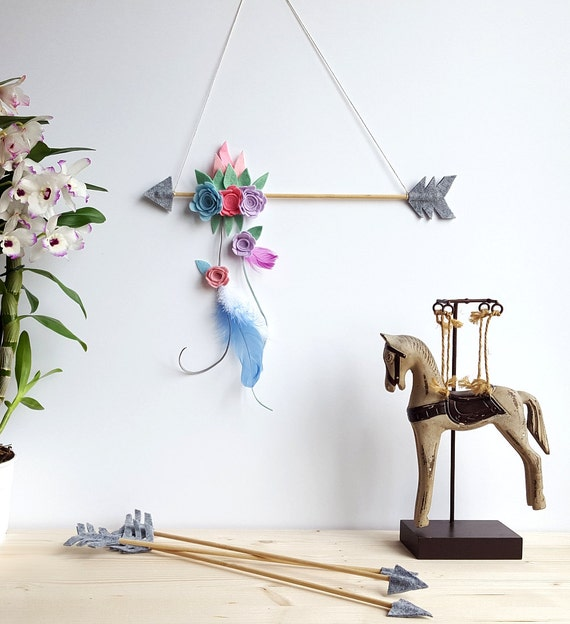 Items similar to floral arrow mobile baby mobile feather for Diy felt flower mobile