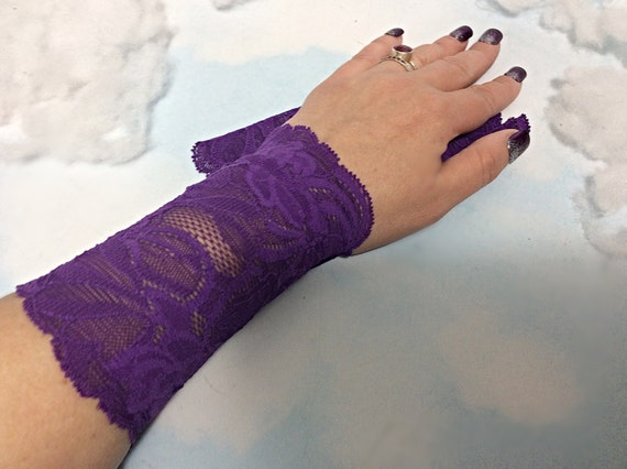 Purple lace bracelet lace wrist cuff lace victorian glove for Lace glove tattoo