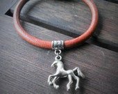 SALE! Ready to Ship! Horse Charm Leather Bracelet w. Magnetic clasp -Small
