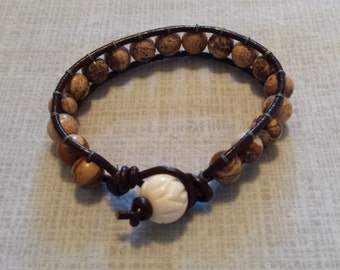 Picasso jasper leather wrap bracelet