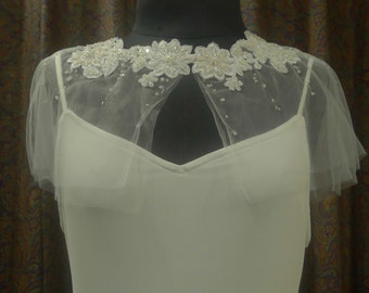 Wedding Accessories, Bridal Cape, Capelet, Wedding Cape, Beaded Cape, Bridal Capelet, Bridal Gown Accessory, Floral beading design, Ivory