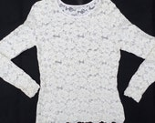 Vintage 80's Pierre Cardin Stretch Lace Top Unlined- Small