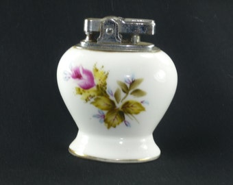 Vintage Porcelain Table Lighter with Rose Design