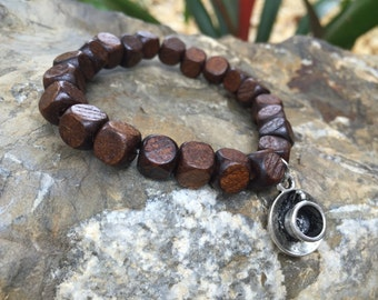 Wooden Beaded Bracelet Dark Brown for Men and Women With Coffee Charm
