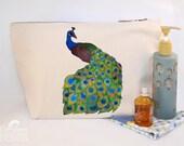 Peacock Canvas Wash Bag, Large Zipper Pouch, Makeup Bag, Toiletry Bag, Accessory Bag