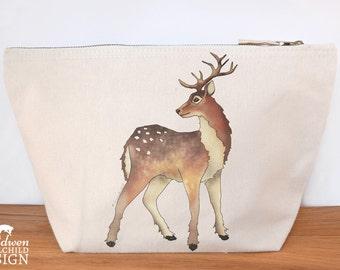 Reindeer Canvas Wash Bag, Large Zipper Pouch, Makeup Bag, Toiletry Bag, Accessory Bag, Christmas Bag