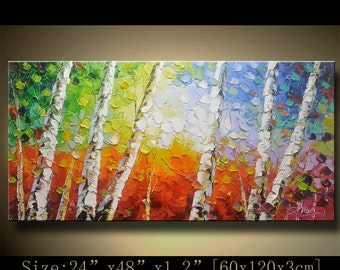contemporary wall art, Palette Knife Painting,colorful tree painting,wall decor , Home Decor,Acrylic Textured Painting ON Canvas by Chen 929