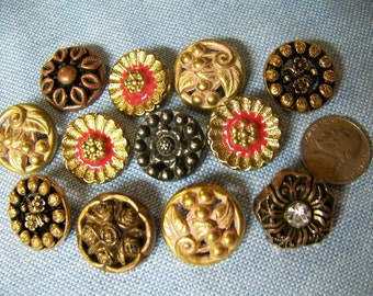 Lot of 12 Fancy Vintage Floral Shank Buttons 7/8""