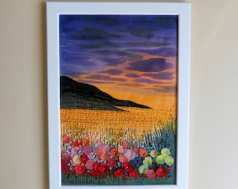 fiber art embroidery painting  embroidered picture  fabric painting