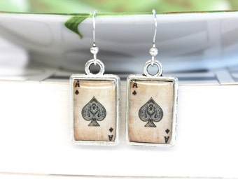 Art resin earrings double sided with playing cards spade vintage artwork