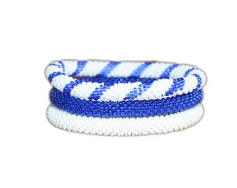 Set of Three Navy Blue and White Crocheted Beaded Bracelet, Handmade in Nepal, Seed Beads, BS310, Roll on