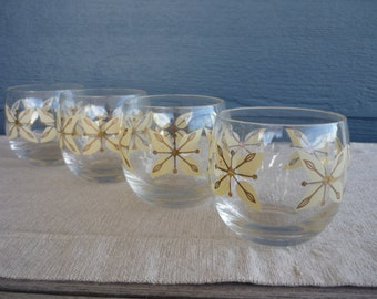 Vintage Mid Century Modern Roly Poly Glasses, Graphic Floral Design, Set of 4