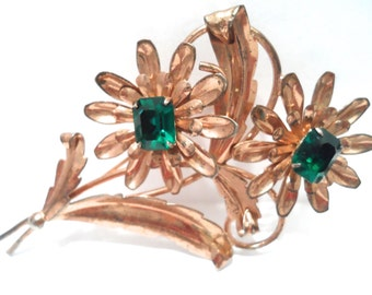 Vintage Retro Emerald Green Rhinestone Sterling Flower Brooch Vintage Retro Jewelry Sterling Vermeil Jewelry 1940s Sterling Brooch Pin