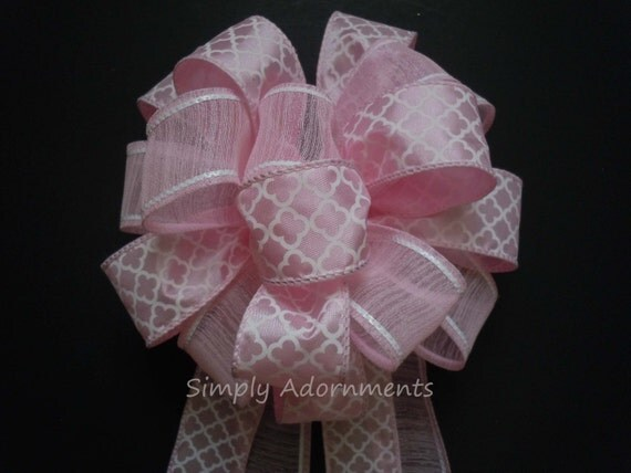 Light Pink Gift Bow Pink Baby Shower Party Decor 1st Birthday Party Decor Pink Bridal Shower Pink Lattice Wedding Pew Bow Topper Gift Bow