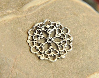 10pcs alloy plating antique silver   filigree cab finding