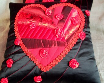 Decorative throw pillow cover red heart cushion for wedding Engagement bridal day gift